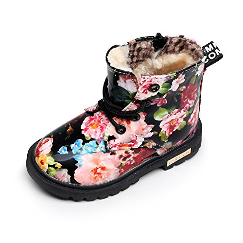 HONGTEYA Winter Children Girls Boots With Fur Floral Print Kids Martin Shoes Warm Plush Snow Baby Booties