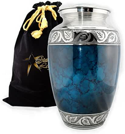 Star Legacy's Mediterranean Mystic - Blue Metal Cremation Adult Urn for Human Ashes w Velvet Bag