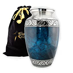 Star Legacy\'s Mediterranean Mystic - Blue Metal Cremation Adult Urn for Human Ashes w Velvet Bag