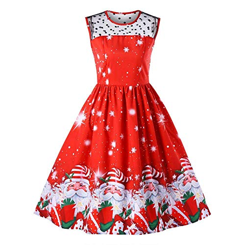 Bright Print Pleated Skater Tank Dress for Christmas Party Costume Ugly Dress(Red Large)