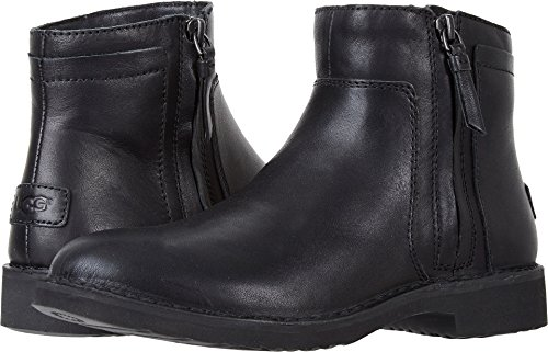 UGG Women's Rea Leather Fashion Boot, Black, 8 M US