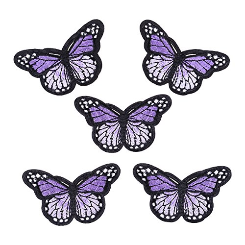 5 Pcs the New Butterfly Iron-on or Sew-on Embroidered Patch Purple (with (Butterfly Embroidered Iron)