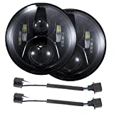 7 inch DOT LED Headlights Bulbs Set Kit Projector 6000K for Jeep Wrangler JK LJ JKU TJ CJ Sahara Rubicon Freedom Dragon Edition Unlimited Hard Rock Sport Headlamps Lights Lamps Black 2 PCS