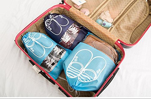 YUMMAYEE 10 Pcs Dust-proof Shoe Bags Drawstring with Window Travel Shoe Storage Bags Shoes Organizer Light Blue by YUMMAYEE (Image #6)