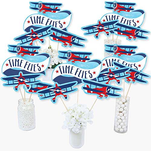 Taking Flight - Airplane - Vintage Plane Baby Shower or Birthday Party Centerpiece Sticks - Table Toppers - Set of 15 -