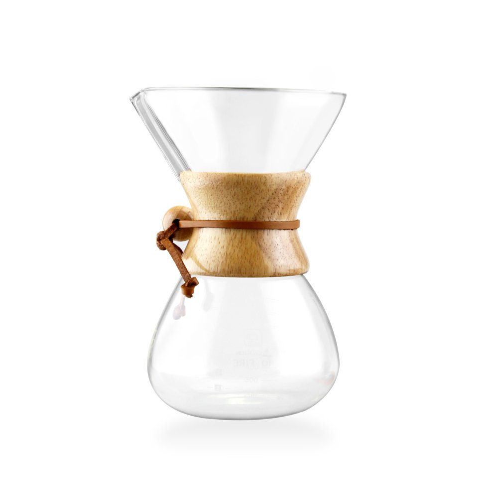 Pour Over Coffee Maker - 5 Cup Classic Glass Design - Borosilicate Glass Carafe by Quality Kitchen