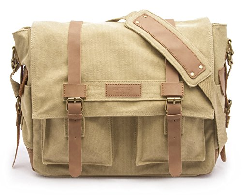 Sweetbriar Classic Laptop Messenger Bag, Army Khaki - Canvas Pack Designed to Protect Laptops up to 13 Inches