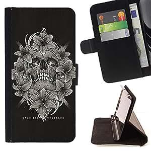 Momo Phone Case / Flip Funda de Cuero Case Cover - Cráneo Blanco Negro florales Muerte Huesos - LG G4