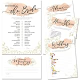 Bridal Shower Games | Set of 5 Games | 50 Sheets Each | Floral Blush and Gold Theme | Includes Marriage Advice Cards, Emoji Game, and Favorite Memory