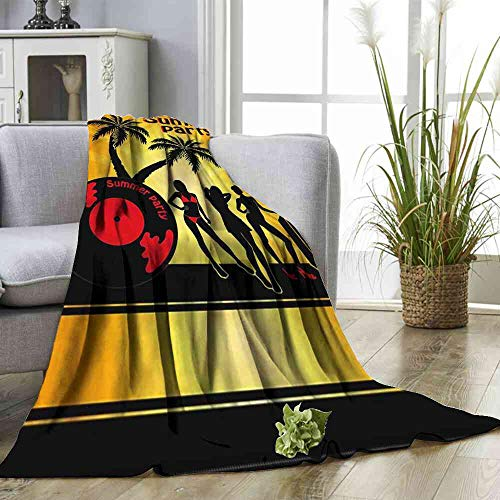 (Big datastore Blanket Beach,Party Girls Vinyl Record Bedding Blanket for Couch Size:60