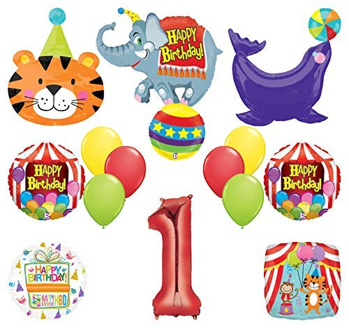 Mayflower Products Circus Theme Big Top 1st Birthday Party Supplies and Balloon Bouquet Decorations Elephant, Tiger and -