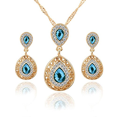 Clearance Deals Necklace+Earrings Jewelry Set Womens Mixed Style Bohemia Color Bib Chain Necklace Earrings Jewelry Gift by ZYooh (Blue)