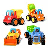 Early Education 1 Year Olds Baby Toy Push and Go Friction Powered Car Toys Sets of 4 Tractor, Bulldozer, Mixer Truck and Dumper for Children & Kids Boys and Girls