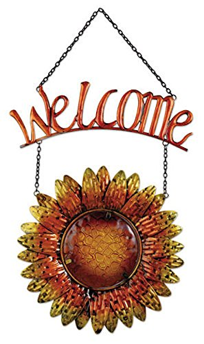 Sunset Vista Designs Metal and Glass Hanging Sunflower Welcome Sign by Sunset Vista Designs