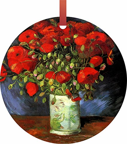 Artist Claude Monet's Vase of Red Poppies Rosie Parker Inc. TM - Flat Round-Shaped Holiday Tree Ornament Made in the USA