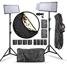 Pergear Lightmate Plus CRI 96+ 5500K Dimmable 960 Led Video Light Panel with 6600mAh Battery Pack, 2.4M/8ft Light Stand, Light Reflector and Carrying Bag