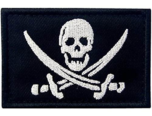 Antrix Pirate Jolly Roger Military Morale Patch Hook & Loop Pirate Flag Tactical Patch (Tactical Hat With Patch)