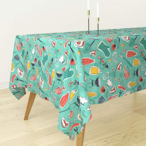 Backyard BBQ Tablecloth - BBQ Cookout Grill Meat Corn Tomato BBQ Summer Food Cookout Aqua Retro Vintage by Heatherdutton - Cotton Sateen Tablecloth 90 x 90