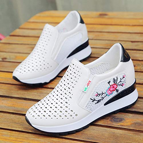 FALAIDUO Increase Fashion Retro Teen Shoes Autumn Breathable Student Black Sports Mesh Shoes Casual Inner Embroidered 151rdqUwxY