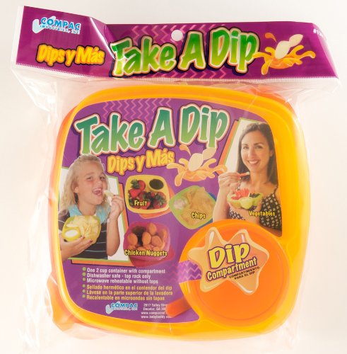 Compac Take A Dip 2the Side Container, Orange/Yellow, 2 Ounce