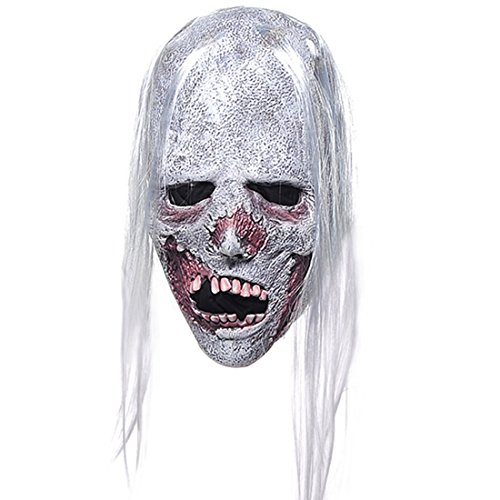 YUFENG Latex Horror Creepy White Hair Mask,Scary Halloween Party Props (Halloween Full Movie Michael Myers 2017)