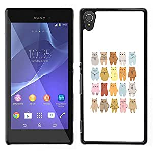 Impact Case Cover with Art Pattern Designs FOR Sony Xperia T3 Bear Art Drawing Lineup Cartoon Betty shop
