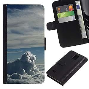 All Phone Most Case / Oferta Especial Cáscara Funda de cuero Monedero Cubierta de proteccion Caso / Wallet Case for Samsung Galaxy Note 4 IV // Lion Clouds
