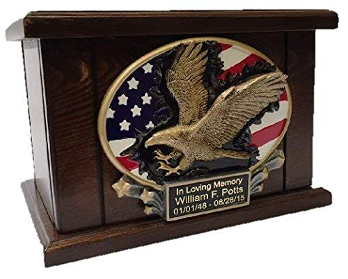 American Flag and Eagle Memorial Funeral Cremation Urn, Adult Wooden Urn- W/personalization ()