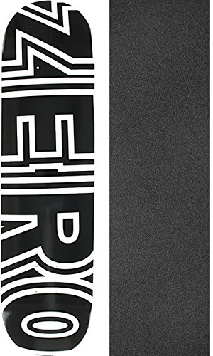 "Zero Skateboards Bold Black/White Skateboard Deck - 7.75"" x 31.3"" with Mob Grip Perforated Black Griptape - Bundle of 2 Items"