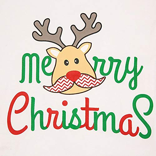 Blaward Family Matching Christmas Pajamas Set Deer Tops and Green Striped Pants Sleepwear for Family