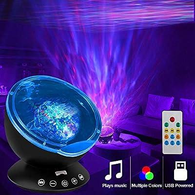 Night Light Projector Ocean Wave,Baby Nursery Music Night Lamp 12 LED and 7 C... Nachtlampjes