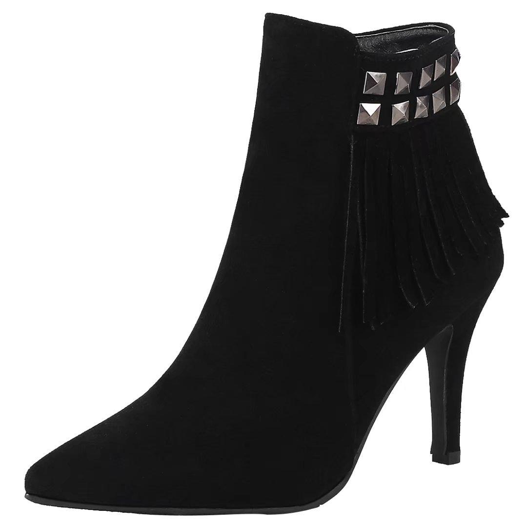 Fransen Aiyoumei Damen Mit Boots Heels Schwarz Ankle Winter