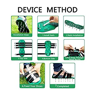 DC-BEAUTIFUL Lawn Aerator ShoesSturdy, Effective & Easy to Use with 4 Straps and Heavy Duty Metal Buckles - Spiked Sandals Shoes Garden Tool