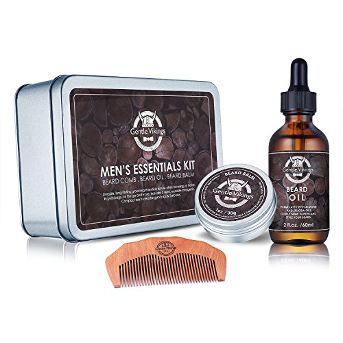 Beard Oil and Beard Balm Gift Set - Gentle Vikings Beard Grooming & Trimming Kit for Men Care with Wooden Comb - Mustache & Beard Styling & Shaping- Leave-in Conditioner Natural and Organic ingredient