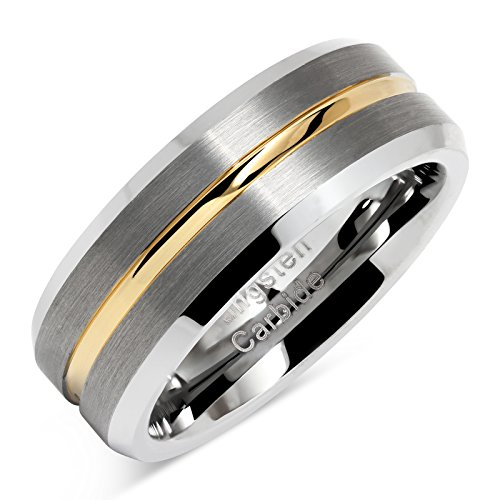 - 100S JEWELRY Tungsten Rings for Men Two Tone Silver Wedding Bands Gold Grooved Matte Finish Size 8-16 (11)