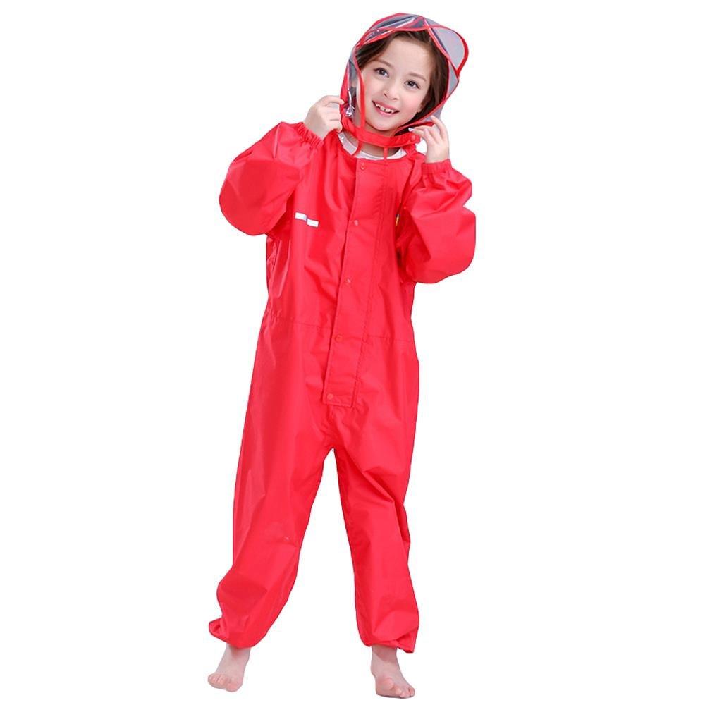 Bwiv Tuta impermeabile bambino impermeabile con cappuccio unisex giacca da pioggia con striscie riflettenti per bambini e bambine