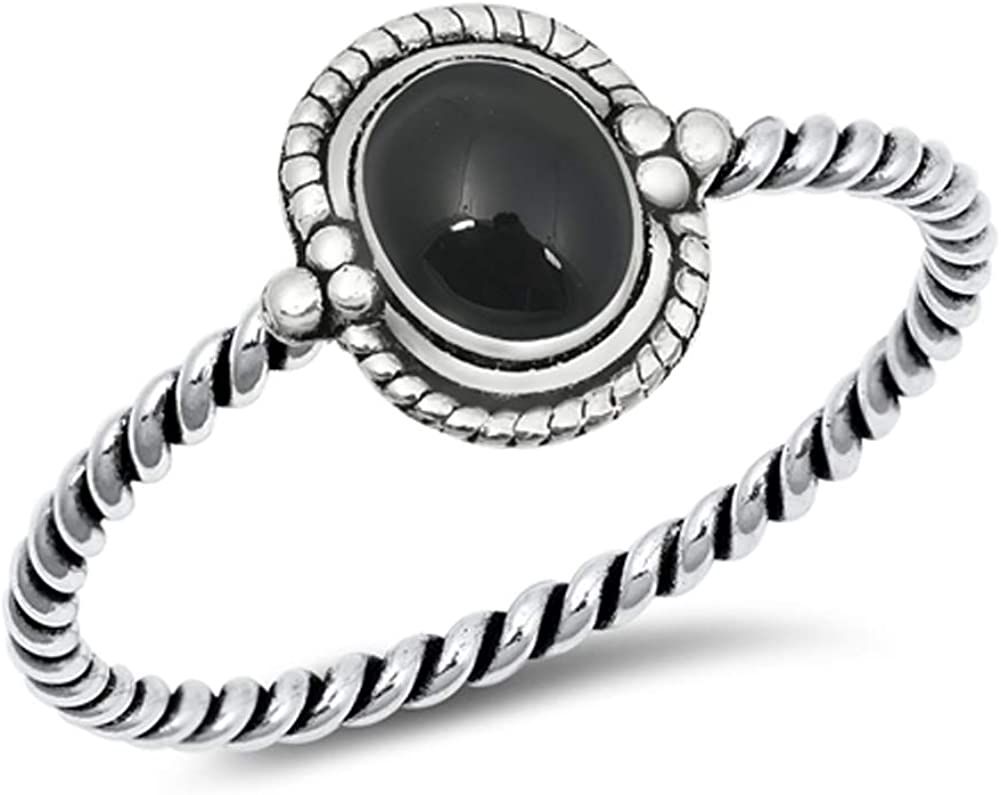 Sterling Silver Simulated Black Onyx Round Boho Halo Knot Love Promise 925 Ring Sizes 4-10