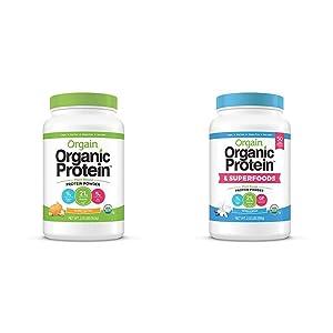 Orgain Organic Plant Based Protein Powder, Peanut Butter - Vegan, Low Net Carbs, 2.03 Pound & Organic Plant Based Protein + Superfoods Powder, Vanilla Bean - Vegan, Non Dairy, Lactose Free, 2.02 lb