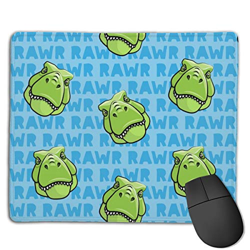 Trex Blue RAWR Dinosaur Tyrannosaurus LAD Computers Thick Keyboard Non-Slip Rubber Base Mouse pad Mat 7 X 8.6 inch
