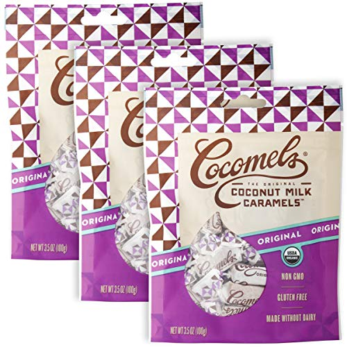 Cocomels Coconut Milk Caramels, Original Flavor, Organic Candy, Dairy Free, Vegan, Gluten Free, Non-GMO, No High Fructose Corn Syrup, Kosher, Plant Based, (3 Pack)