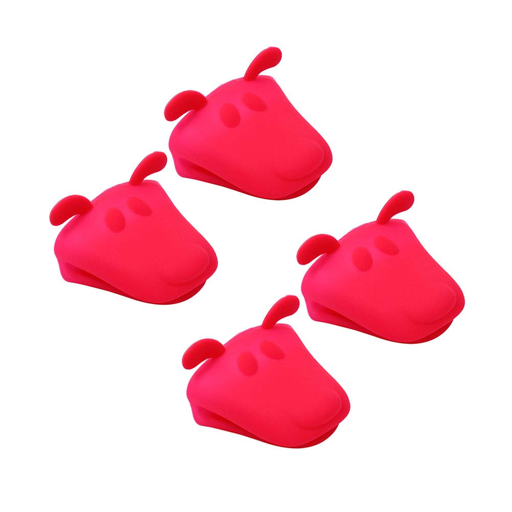 BESTONZON Silicone Oven Gloves Animal Shape Heat-Resistant Microwave Mitts Non-Slip Gloves Kitchen Baking Tool 4 Pcs (Random Color)