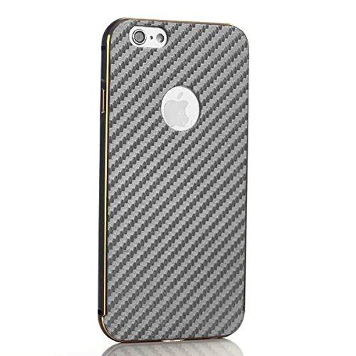 iPhone 5 5S Funda Case LifeePro Stylish 2 in 1 Patrón de teléfono híbrido [Anti-rasguños] [Antideslizante] Resistente a los golpes PU Cuero Gris Contraportada + Caja de parachoques de aluminio para iP Negro