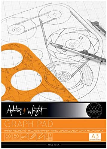 Ashton and Wright Graphenblock, A3, Grau, 80 g/m², 60 Blatt