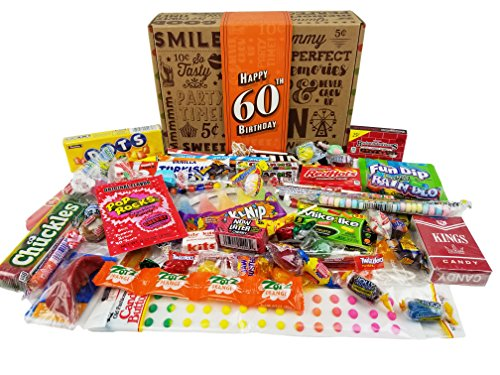 VINTAGE CANDY CO. 60TH BIRTHDAY RETRO CANDY GIFT BOX - 1958 Decade Nostalgic Candies - Fun Gag Gift Basket For Milestone SIXTIETH Birthday - PERFECT For Man Or Woman Turning 60 Years Old - Candy Dots Paper