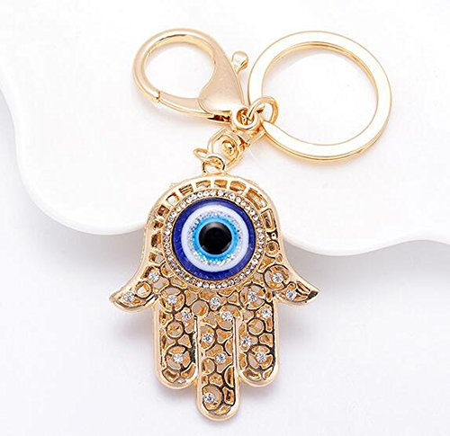 Key Hamsa - Jzcky Shzrp Blue Evil Eye on a Hamsa Crystal Rhinestone Keychain Key Chain Sparkling Key Ring Charm Purse Pendant Handbag Bag Decoration Holiday Gift