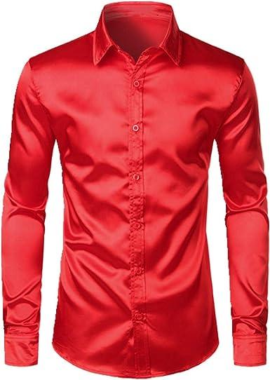 N\P Camisa de satén negro para hombre casual: Amazon.es: Ropa ...