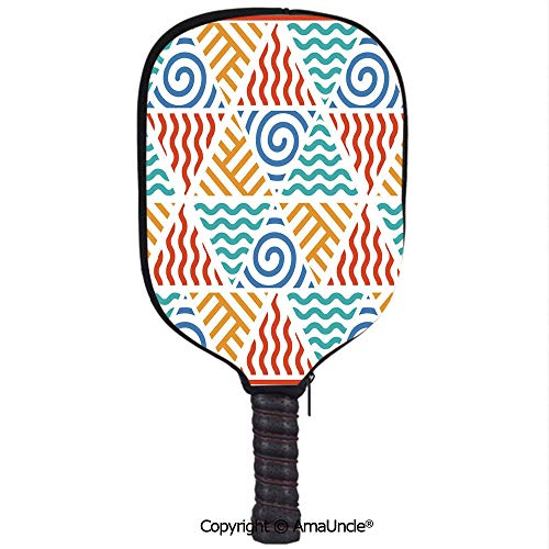 (SCOXIXI Customized Racket Cover, Stylish Retro Pattern Symbols of Four Elements Air Water Fire and EarthRacket Cover,Protect Your Pickleball Paddles)