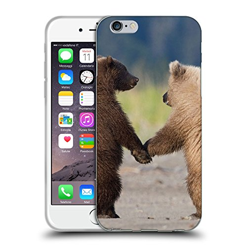 Just Phone Cases Coque de Protection TPU Silicone Case pour // V00004119 Oursons à pied et de tenir les pattes // Apple iPhone 6 4.7""