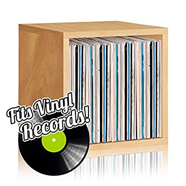 Way Basics Stackable Vinyl Record Storage and Record Album Storage Cube, Natural - Fits 65 to 70 records