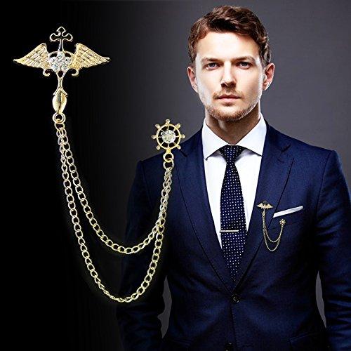 Collar Wing - Custom men's suits Korean angel wings brooch pin chain tassel igan shirt collar collar pin brooch lapel